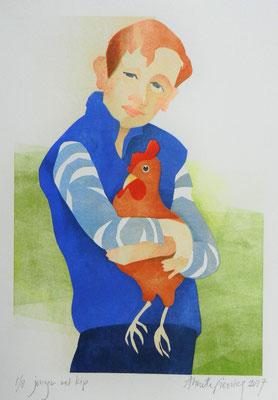 Annette Fienieg: Jongen met kip, sjabloondruk