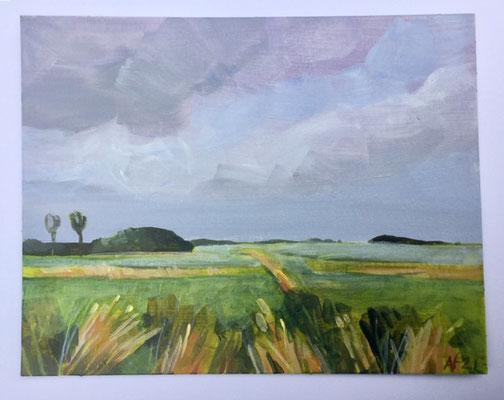 Annette Fienieg: Polder, acrylics on cardboard 14 x 18 cm