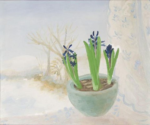Winifred Nicholson: Blue Hyacinths in a winter landscape