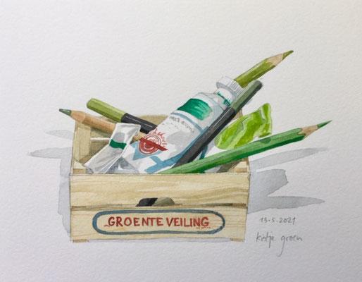 Annette Fienieg: Crate of greens; 13-5-2021