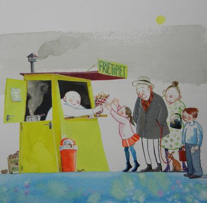 Friet van Piet, onderdeel van de expositie bij Theater Pantalone in Ysselstein