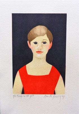 Meisje in rode jurk, sjabloondruk 2017
