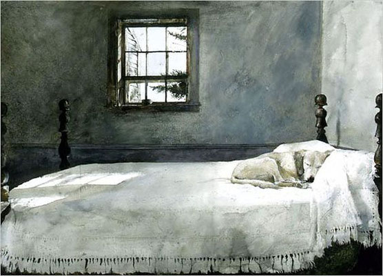 Andrew Wyeth: Dog on bed