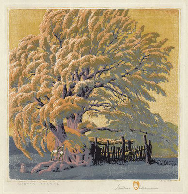 Gustave Baumann: Winter corral, woodcut