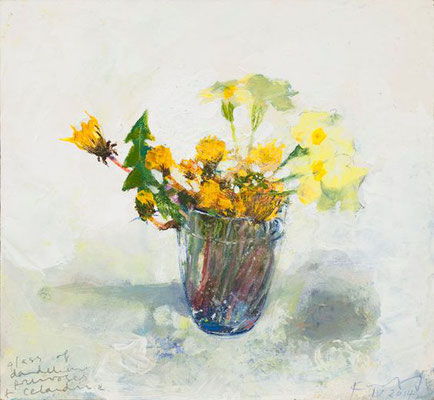 Kurt Jackson: A glass of dandelions, primroses and celadine