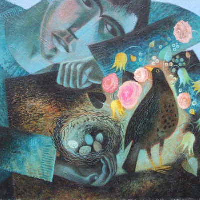 Clive Hicks-Jenkins: Saint Kevin and the blackbird
