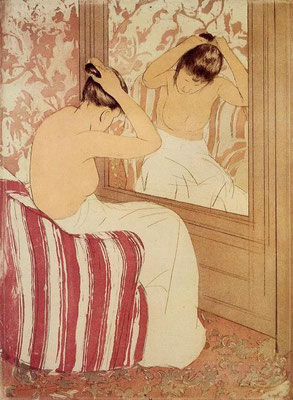 Mary Cassatt: The coiffure study, colour etching