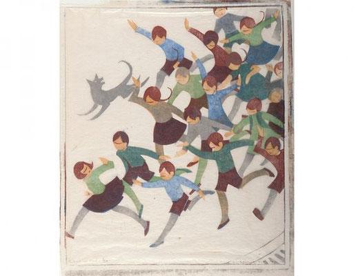 Ethel Spowers: de school gaat uit, linosnede