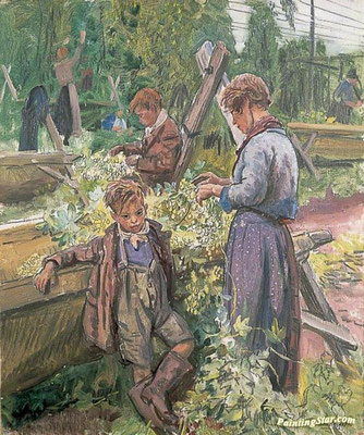 Laura Knight: Hop picking