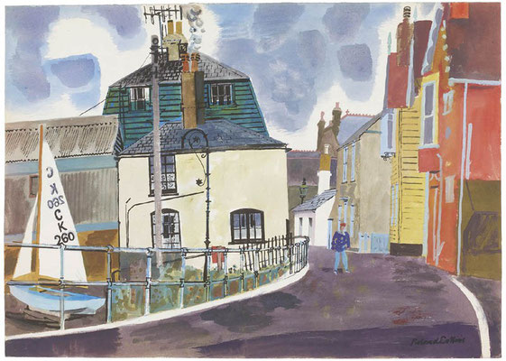 Roland Collins: The eight Bells and Ocean Cottage, sea wall, Whitstable