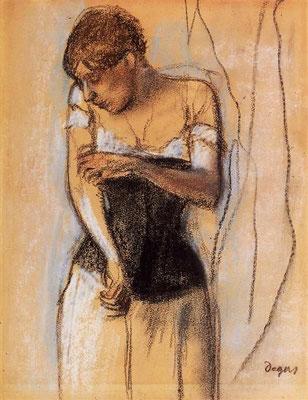 Edgar Degas: vrouw die haar arm aanraakt