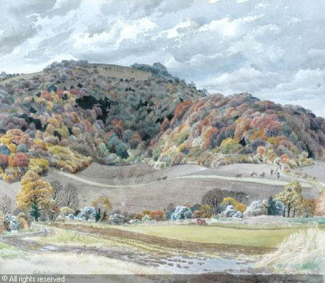 Stanley Roy Badmin: Late autumn, Egg Bottom, Bignor, Sussex