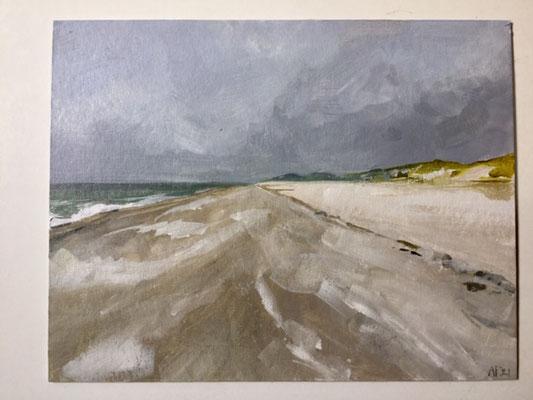 Annette Fienieg: Beach, acrylics on cardboard 19 x 24 cm