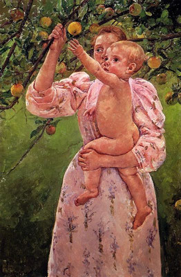 Mary Cassatt: Mother and child, oil painting