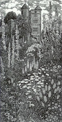 Sue Scullard: Cottage garden, Sissinghurst; wood engraving