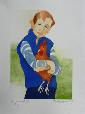 Jongen met kip, sjabloondruk 2017