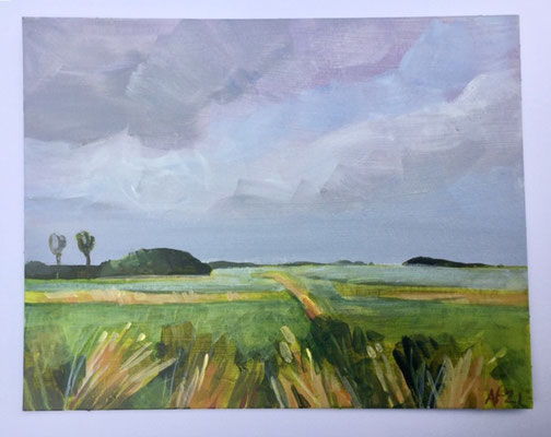 Annette Fienieg: Polder, acryl op karton 14 x 18 cm