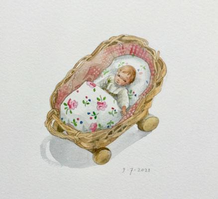 Annette Fienieg: Tiny doll's crib, 9-7-2021