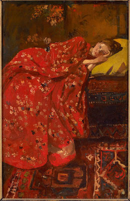 Georg Hendrik Breitner; meisje in rode kimon