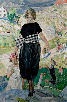Carl Wilhelmson: girls with a dog (?)