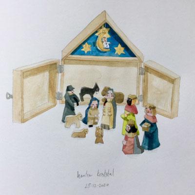 Annette Fienieg: Houten kerststal, 25-12-2020