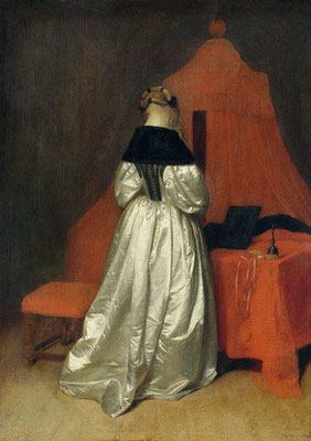 Gerard ter Borch: Woman in a white dress, in front of a bed with a red curtain