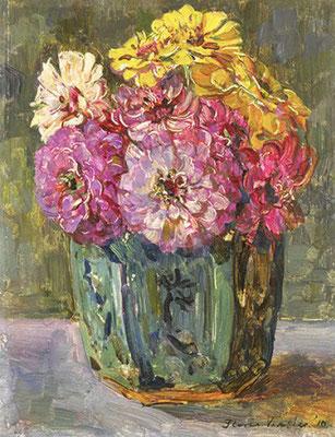 Floris Verster: Zinnias in a ginger jar