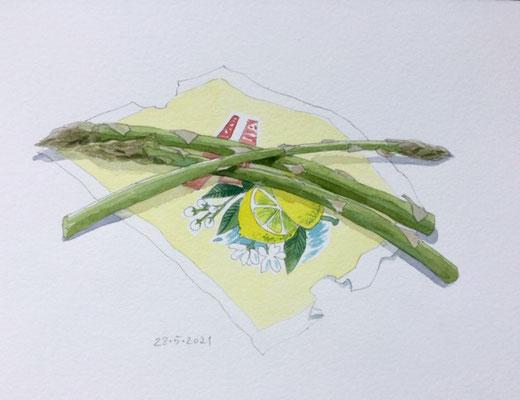 Annette Fienieg: Asparagus on a lemon wrapper, 28-5-2021