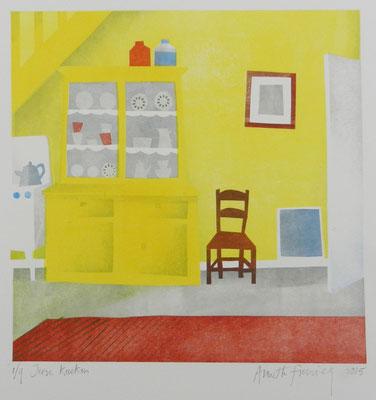 Annette Fienieg: Ierse keuken, sjabloondruk 2015 (prijsprent)