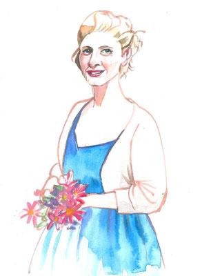 Annette Fienieg: Vrouw met bloemen