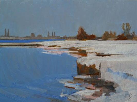 Frank Dekkers: Winterdag aan de Lek, olieverf
