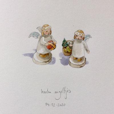 Annette Fienieg: 2 Wooden angels, 14-12-2020
