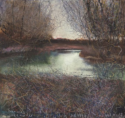 Kurt Jackson: Thames meander, dry nettles and willows