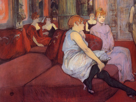 Henri de Toulouse-Lautrec: Salon in de Rue des Moulins