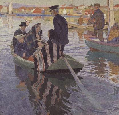 Carl Wilhelmson: kerkgangers in een boot