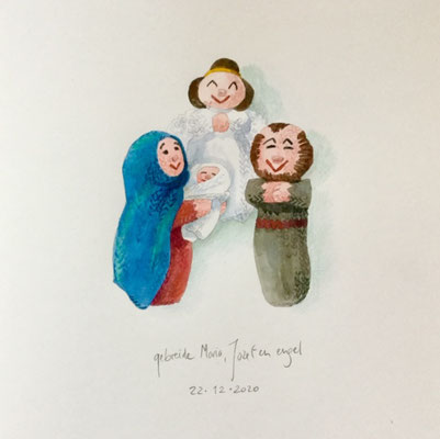 Annette Fienieg: Knitted Mary, Josef and angel, 22-12-2020