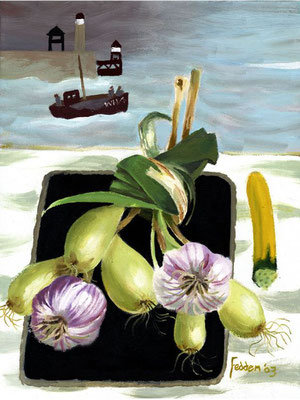 Mary Fedden: Whitby harbour