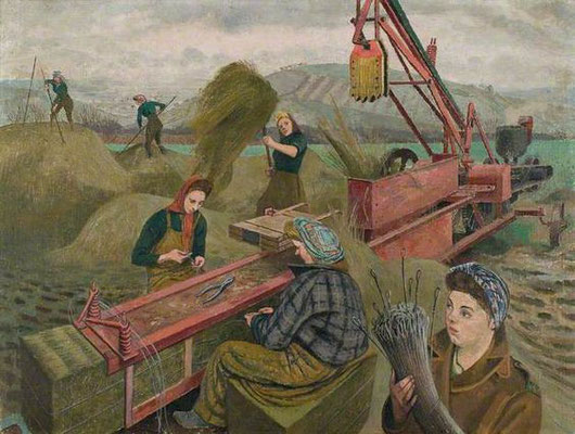 Evelyn Dunbar: Bailing hay