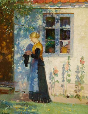 Anna Ancher:Girl knitting by the house in Skagen