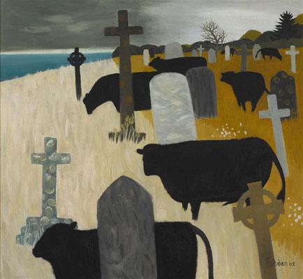 Mary Fedden: Cows in a churchyard
