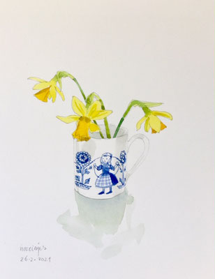 26-2-2021; Annette Fienieg: Daffodils in a coffee cup