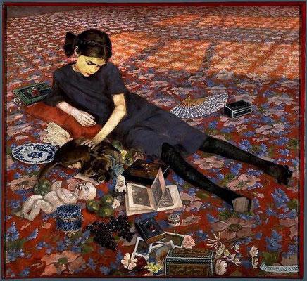 Felice Casorati: Meisje op rood tapijt