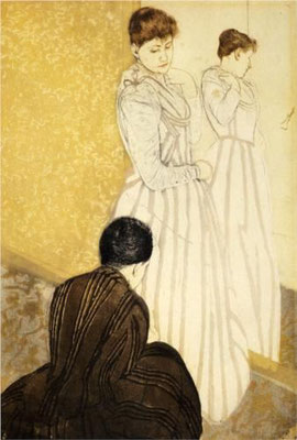 Mary Cassatt: The fitting, colour etching