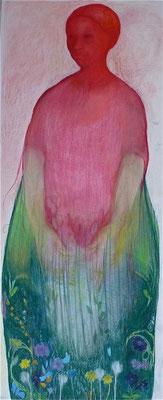 Maartje Strik: Rode vrouw (pastel)