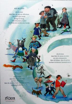 affiche 'Als ik lees' voor Stichting Lezen, tekst Koos Meinderts, beeld Annette Fienieg
