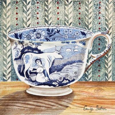 Emily Sutton: Blue cow cup; watercolour
