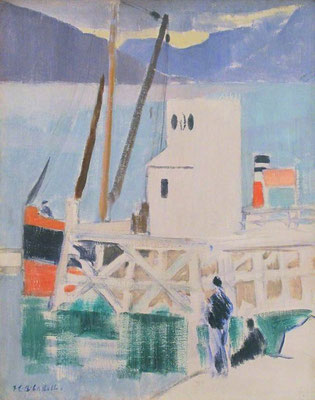 Francis Cadell: The pier at Cove, Loch Long