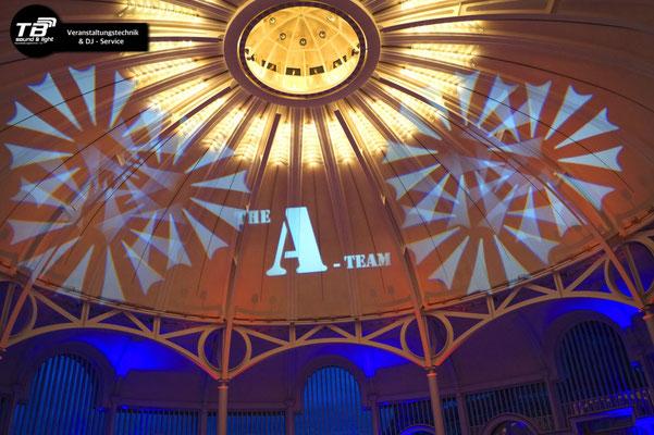 """Das """"A-Team"""" Gobo wurde nach Kundenwunsch angefertigt und an die Kuppel projiziert"""