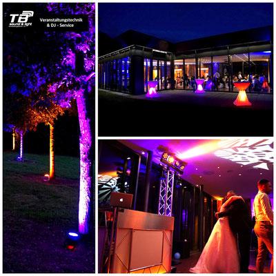 Hochzeitsdj im Burgpavillon Heimerzheim + Akku LED Spots im Außenbereich