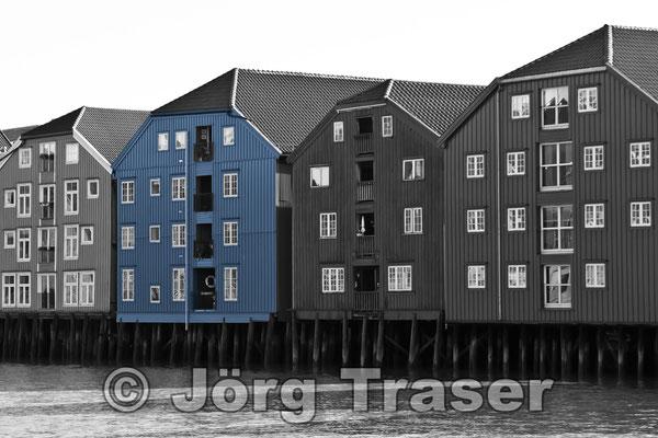 Speicherhäuser Trondheim blau